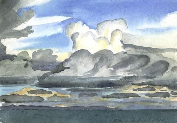 Abendgewitter über dem Titicacasee, Peru; 29 cm x 20 cm, Aquarell auf Papier, 28.2.1984