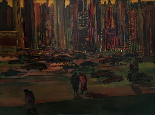 NY, 150 cm x 110 cm, Acryl auf Nessel, 1987