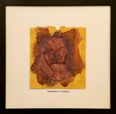 Fliegentanz in Bombay, 21 cm x 23 cm, Acryl auf Papier, Stempelschrift, 1989