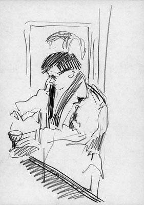 An der Bar, 21 cm x 29,7 cm; Graphitstift auf Papier, 1988