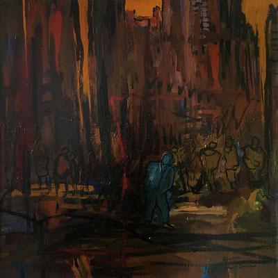 Stadtgefühle, 100 cm x 100 cm, Acryl auf Nessel, 11-1987