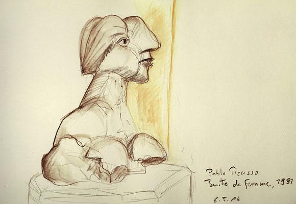 Musee Picasso, Paris; 26 cm x 18 cm, Aquarellstifte im Skizzenbuch; 6.5.2016