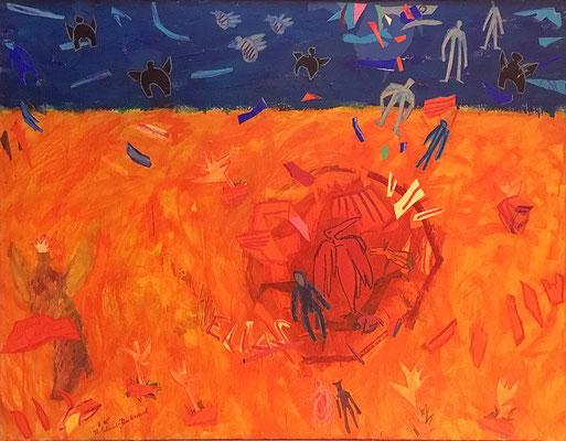 Wird Elias kommen, 114 x 150cm, Acryl & Farbpapiere auf Nessel, 1995