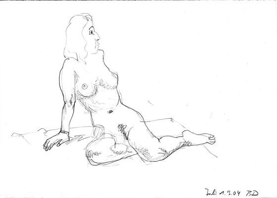 Julia, 42 cm x 30 cm, Graphit auf Papier, 1.3.2004