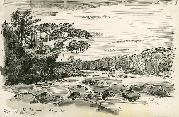 Am Rio Iguazu, Paraguay; 29,5 cm x 19,5 cm; Tusche auf Papier, 19.1.1984