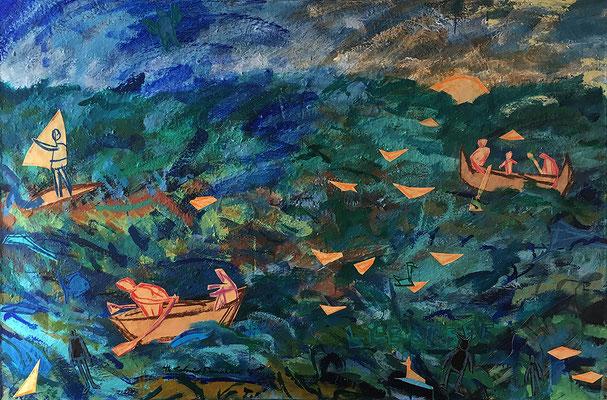 Der Lübbesee, 120cm x 150 cm, Acryl & Farbpapiere auf Nessel, 1995