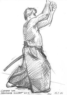 Clemens, 390 cm x 42 cm, Graphit auf Papier, 16.2. 2004