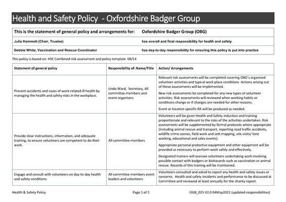 Health & Safety Policy Page 1