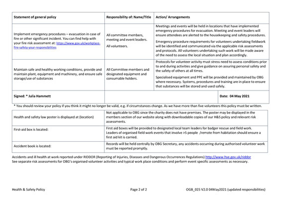 Health & Safety Policy Page 2