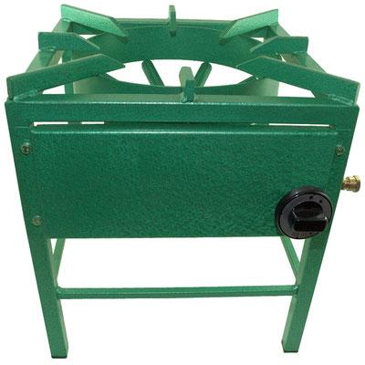 Hockerkocher mit grün beschichtetem Stahl.
