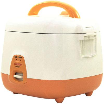 Kleiner Reiskocher mit 0,54 L Inhalt und modernem Design. Erhältlich in den Farben Orange / Weiß