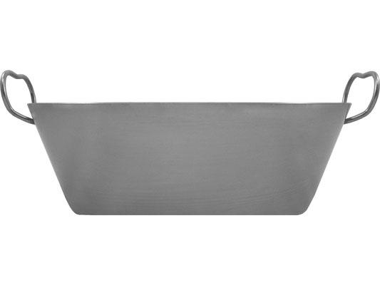 Seitenansicht Frittierpfanne mit hohem Rand, ideal für große Mengen Frittierfett oder große Portionen an Speisen und Suppen.
