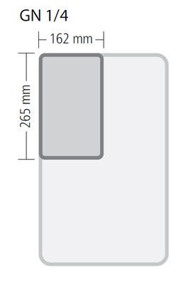 Genormte Abmessungen eines GN 1/4 Behälters aus Polypropylen