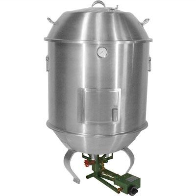 Entenofen mit passendem Gasbrenner 700B. Die Flamme kann einfach von außen reguliert werden ohne den Ofen zu öffnen und damit Hitze entweichen zu lassen.