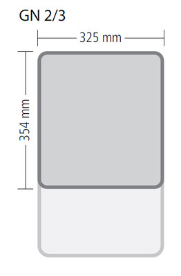 Genormte Abmessungen eines GN 2/3 Behälters aus Edelstahl in Premium Qualität