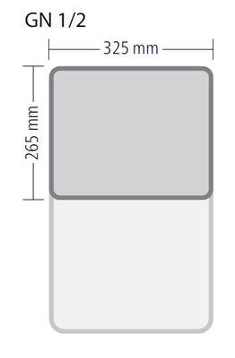 Genormte Abmessungen eines GN 1/2 Behälters aus Edelstahl in ECO-Qualität