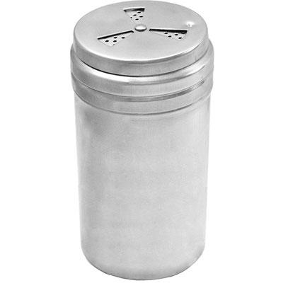 Multistreuer aus Edelstahl mit 0,4 Liter Inhalt. Im Handumdrehen zwischen 3 Lochgrößen 2, 4 und 6 mm umstellen.