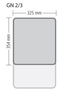 Genormte Abmessungen eines GN 2/3 Behälters aus Edelstahl in ECO-Qualität