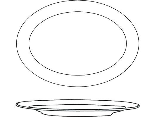 Darstellung Ovalteller mit flachem Rand