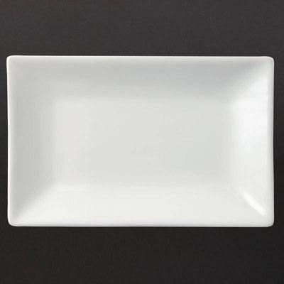 Flache rechteckige Platte Olympia aus weißem Porzellan CC893 / CC894 / CC 895 / CC896.