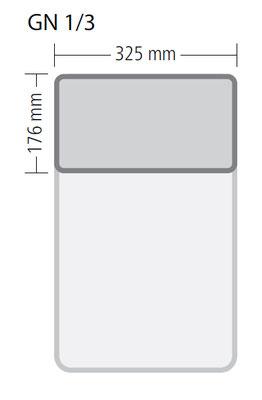 Genormte Abmessungen eines GN 1/3 Behälters aus Edelstahl in ECO-Qualität