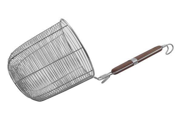 Zusätzlicher Haken am oberen Ende des Griffes. Sichere Aufbewahrung oder sicheres Einhängen im Kochtopf möglich.