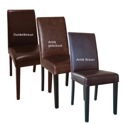 Stuhl mit verschienen Kunstlederarten: dunkelbraun, antik gebräunt und antik braun