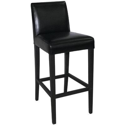 Stilvoller Hocker mit Rückenlehne und schwarzem Kunstleder für den Innenbereich