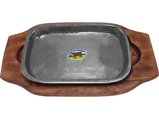 Heiße Eisen-Platte aus Thailand. Rustikale Optik für alle Speisen geeignet.