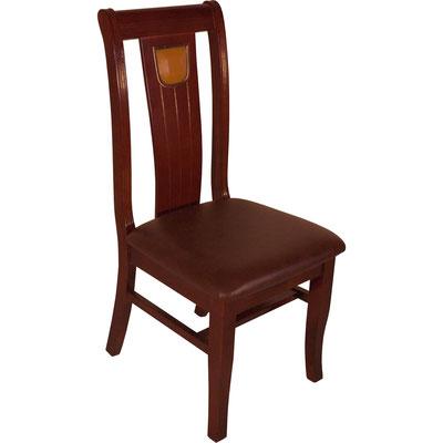 Stuhl in Mahagonifarbe mit dunklem Ledersitz. In der Rückenlehne ist ein künstlicher Jadestein aus Kunststoff eingelassen. Verstärkter Stuhl mit Extrastrebe für den Restaurantbetrieb.