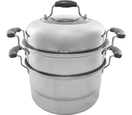 4-teilges Dampfkorb Set aus rostfreiem Stahl. Ideal zum Dämpfen von Dim Sum, Fleisch- oder Gemüsegerichte.