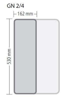 Genormte Abmessungen eines GN 2/4 Behälters aus Edelstahl in ECO Qualität