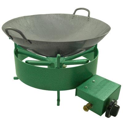Der Tischkocher eignet sich ideal für größere Woks. Sichere Positionierung der Woks ohne zu verrutschen.