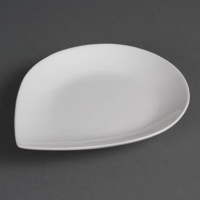 Tropfenförmiger Teller von Olympia aus weißem Porzellan CB682 / CB 683