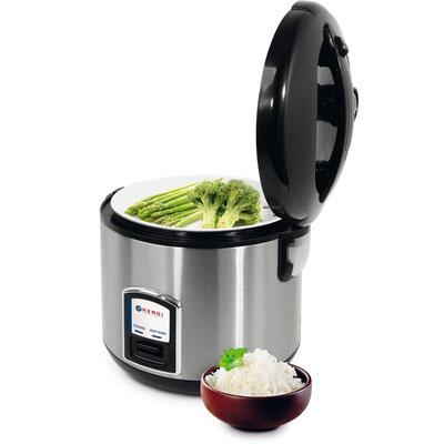Hendi Reiskocher mit 1,8L Inhalt. Geeignet zum Kochen und Warmhalten von Speisen. Mit dem Dampfeinsatz können Sie ebenfalls Fisch und Gemüse dämpfen.