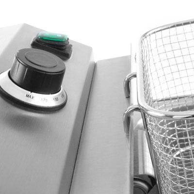 Intuitive Bedienung durch stufenlosen Temperaturregler und An/Aus Schalter
