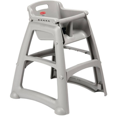 Kinderhochstuhl Rubbermaid M959 in Platinum. Stapelbar, leicht zu reinigen und standsicher.