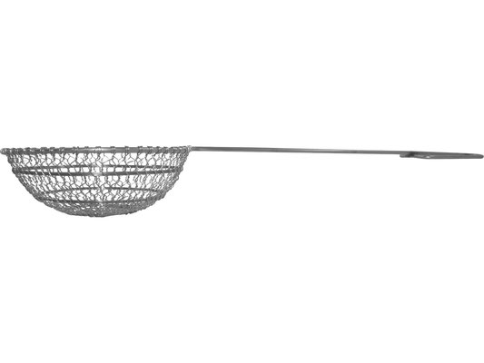 Seitenansicht Frittierlöffel mit tiefem Löffel. Großer Frittierlöffel für viel Frittiergut.