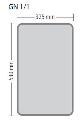 Genormte Abmessungen eines GN 1/1 Behälters aus Edelstahl in ECO-Qualität
