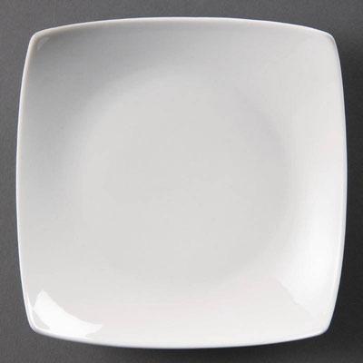 Quadratischer Teller Olympia aus weißem Porzellan CB687 / CB688 / CB689.