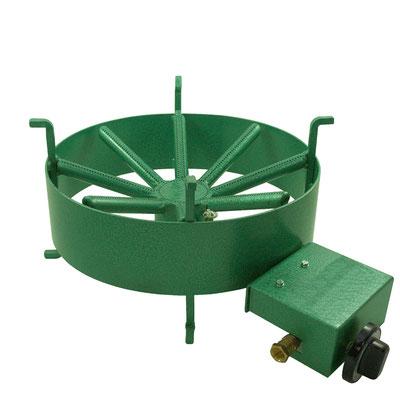 Gaskocher aus grün beschichtetem Stahl mit Gasanschluss und Gasregulierung.