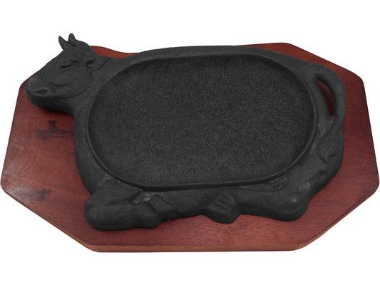 Heiße Platte aus Gusseisen mit Stier-Motiv. Hält Ihre Speisen lange warm.