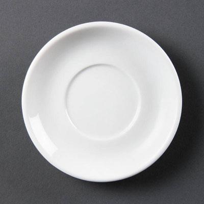 Espresso Untertasse Olympia aus weißem Porzellan CB472