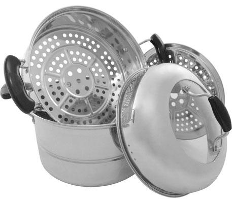 Ein Set bestehend aus zwei Dampfkörben, einem Edelstahl-Einsatz und einem Deckel. Abwaschbar, wiederverwendbar und langlebig. Geeignet für Elektroherde, Gasherde und Induktion.