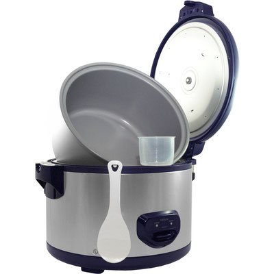 Cuckoo Reiskocher CR-3511 (6,3 Liter) - Reiskocher mit Zubehör und geöffnetem Deckel