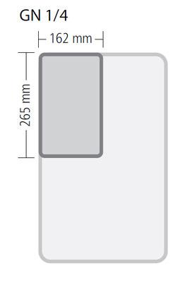 Genormte Abmessungen eines GN 1/4 Behälters aus Edelstahl in Premium Qualität
