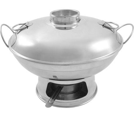 4-teiliges mongolisches Feuertopf Set in den Größen Ø 220 - 260 mm erhältlich. Aus glänzendem Edelstahl bestehend aus Rechaud, Teelichthalter, passendem Deckel und Abdeckkappe.