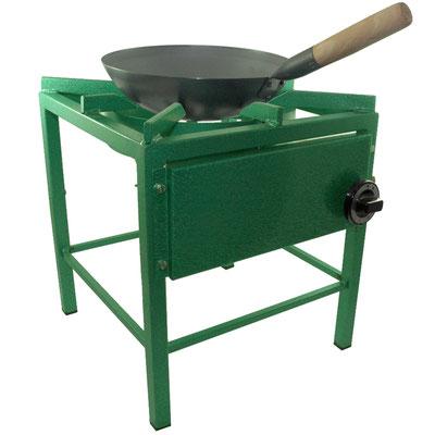 Die Kochstelle ist ideal geeignet für das Kochen mit Woks.