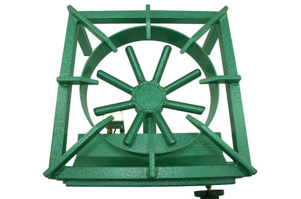 Das Propangas oder Erdgas wird durch die sternförmige Kochstelle geleitet und erhitzt Ihre Speisen mit 13 kW Leistung schnell und gleichmäßig.