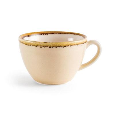 Kaffee Tasse Olympia Kiln aus handbemaltem Porzellan GP332 in Farbe Sandstein.